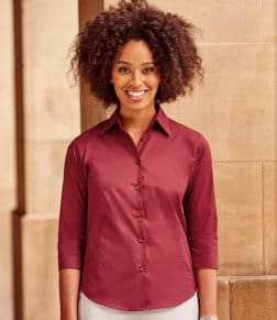 Russell Collection Ladies 3/4 Sleeve Easy Care Fitted Shirt