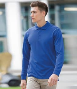 Henbury Long Sleeve Coolplus® Piqué Polo Shirt
