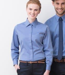 Henbury Ladies Long Sleeve Pinpoint Oxford Shirt