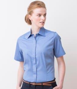 Henbury Ladies Short Sleeve Pinpoint Oxford Shirt