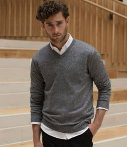Henbury Marl V Neck Sweater