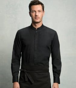 Kustom Kit Bargear® Long Sleeve Mandarin Collar Shirt