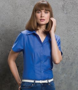 Kustom Kit Ladies Short Sleeve Workwear Oxford Shirt